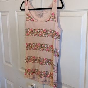 Flower striped ribbed tank top